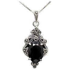 """Vintage Onyx and Marcasite Sterling Silver Pendant Necklace 18"""""""