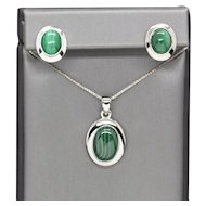 Minimalist Green Malachite Bezel Set Sterling Silver Necklace and Earrings Set