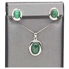 Minimalist Green Malachite Bezel Set Sterling Silver Necklace and Earrings Set