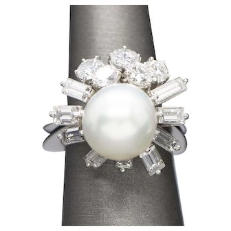 Retro 12mm South Sea Pearl and 3.62ctw Diamond Vintage Cocktail Ring in Platinum