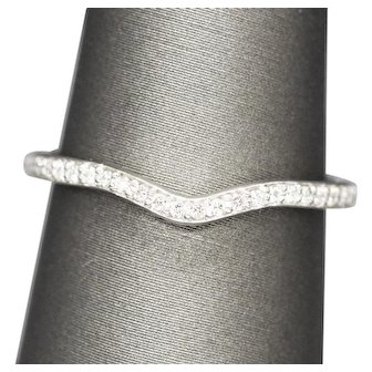 Delicate 0.16ctw Diamond Curved Contour Wrap Guard Wedding Band Ring 14k White Gold