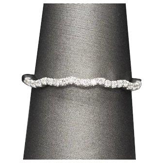 Feminine 0.13ctw Pave Diamond Scalloped Curved Contour Wedding Band Ring in Platinum