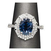 RARE Handcrafted Indicolite Blue Tourmaline & Diamond Cocktail Engagement Ring
