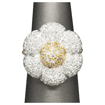 3.00ctw Diamond Pave' Flower Cocktail Ring in Platinum and 18k Yellow Gold