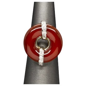 Natural Red Jade and Diamond Donut Circle Ring in 18k Yellow Gold