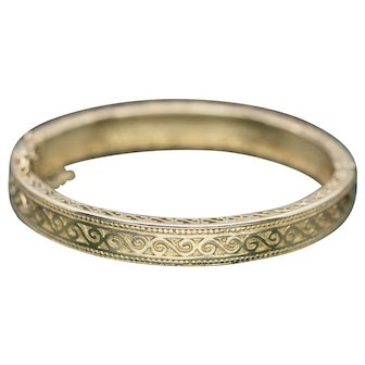 Bold Solid Gold Engraved Swirl Oval Bangle Bracelet in 14k Yellow Gold 33.8g
