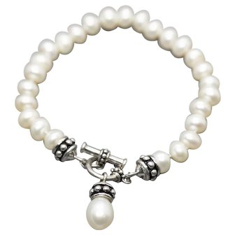"""Freshwater Pearl Sterling Silver Toggle Bracelet 8"""" with Teardrop Charm Dangle"""