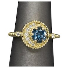 Handcrafted Blue Tourmaline and Diamond Crescent Moon Ring in 18k Yellow Gold