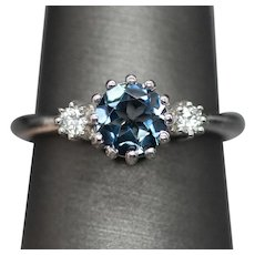Handcrafted 1.10ctw London Blue Topaz and Diamond Ring in 14k White Gold