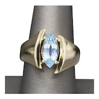 2.00ct Blue Topaz Marquise Modernist Cocktail Ring in 14k Yellow Gold