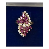 2.25ctw Stunning Ruby and Diamond Marquise Spray Cocktail Ring in 14k