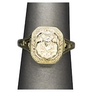 Victorian Memorial Sentiment Mourning Ring 10k Yellow Gold