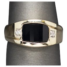 Vintage Men's Faceted Onyx and Diamond Textured Ring in 10k Yellow Gold