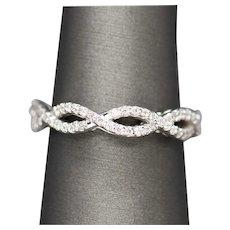 0.35ctw Diamond Infinity Wedding Anniversary Band Ring 14k White Gold Size 7.25