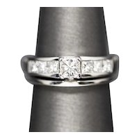 1.00ctw Princess Cut Channel Set Diamond Engagement Ring and Wedding Band in 14k White Gold