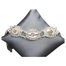 Vintage Sterling Silver and Rose Gold Marcasite Floral Link Bracelet