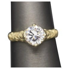 7mm 1.30ct Moissanite Engagement Ring in Vintage 14k Yellow Gold Solitaire Setting