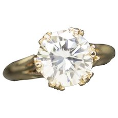 9mm 2.30ct Moissanite Solitaire in Vintage 14k Yellow Gold Ring