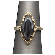 Victorian Hematite Navette Mourning Ring in 10k Rose Gold