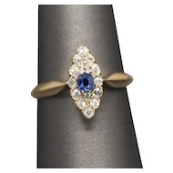 Petite Victorian Navette Sapphire and Old Mine Cut Diamond Ring