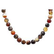 Bold Scottish Agate, Carnelian and Sardonyx Bead Necklace in Sterling Silver