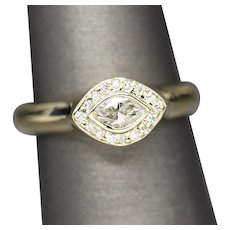 Marquise Diamond East West Bezel Set Ring 14k Yellow Gold