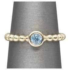 Blue Zircon 0.50ct Bezel Set Stackable Bead Ring 14k Yellow Gold