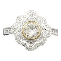 Two Tone 1.54ctw Bezel Set Diamond Engagement Ring with Engraved Band in 14k