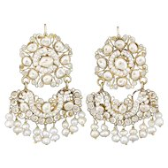 Antique Seed Pearl and Filigree Large Dangle Earrings 14k Yellow Gold