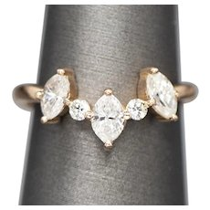 Marquise and Round Diamond Curved Crown Band Ring in 14k Rose Gold