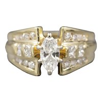 Sparkling 1.00ctw Marquise Radiant and Round Diamond Engagement Ring in 14k Yellow Gold