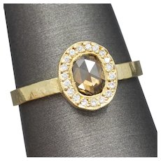 Handcrafted Rose Cut Cognac Brown Diamond Ring in 18k Yellow Gold