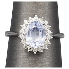 2.20ctw Light Blue Sapphire and Diamond Ring in 18k White Gold