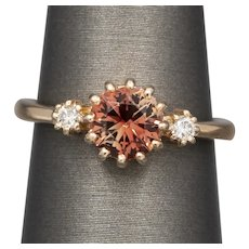 STUNNING Oregon Sunstone and Diamond Ring in 14k Rose Gold
