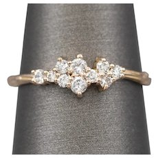 Handcrafted Romantic 0.18ctw Diamond Cluster Ring in Textured 14k Rose Gold