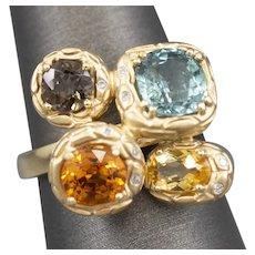 Unique Spessartine Garnet Smoky Topaz Citrine and Tourmaline Diamond Cocktail Ring in 14k Yellow Gold