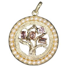 Vintage Upcycled Precious Pink Imperial Topaz and Pearl Tree Pendant Charm in 14k