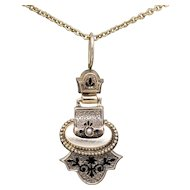 Victorian Mourning Pendant with Pearl and Taille d'Epargne Black Enamel in Rose Gold