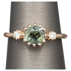 Antique Green Sapphire and Diamond Ring in 14k Rose Gold