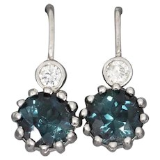 Rare Blue Indicolite Tourmaline and Diamond Crown Set Earrings in 14k White Gold