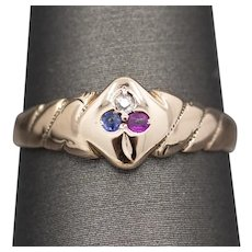 Victorian French Ruby Sapphire and Diamond Spade Clover Trefoil Ring in Rose Gold