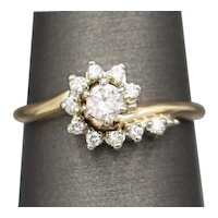 Sweet Vintage Diamond Engagement Wedding Ring in 14k Yellow Gold