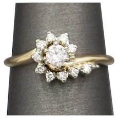 Sweet Vintage Diamond Engagement Wedding Ring in 14k Yellow Gold