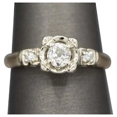 Vintage Old Mine Cut Diamond Three Stone Classic Engagement Ring in 14k