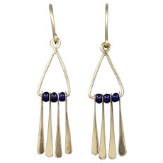 Handcrafted Geometric Cobalt Glass and Dangle Earrings in 14k Yellow Gold