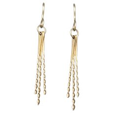 Handcrafted Gold Stick Twist Dangle Earrings in 14k Yellow Gold