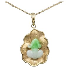 Vintage Jade Frog on Lily Pad Pendant Charm in 14k Yellow Gold