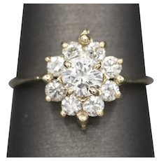 Sparkling 1.06ctw G VS2 Natural Diamond Cluster Engagement Ring in 14k Yellow Gold