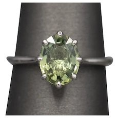 2.32ct Oval Green Sapphire Claw Set Engagement Ring in 14k White Gold