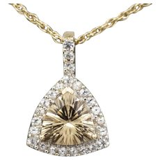 Sparkling Trillion Cut Champagne Quartz and White Topaz Pendant in 10k Yellow Gold
